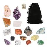 icyant Juego de Cristales Curativos, 15 Piedras de Chakra de Cristal incluye 7 Piedras de Cchakra en...