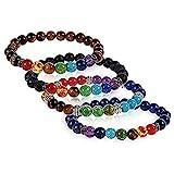 iwobi 4 PCS Pulsera de Lava,Beads Pulsera para Hombres Mujeres Pulsera de Yoga, Pulsera de Buda con...