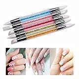 Cisixin 5 pcs Cepillo Uñas para Mujer, Pinceles de Silicona de Doble Cabeza Nail