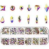 Tanersoned 480 Piezas Crystal AB Nail Art Rhineston Decoración, Tallas Glitter Nail Beads 3D Diy...