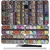 EBANKU 10 Cajas Kit de diamantes de imitación de arte de uñas de Estilos Mezclados | Pedrería...