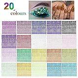 Phogary - Adhesivo de estrás para manualidades, 300 piezas, cristal, en 4 tamaños, 20 colores,...
