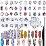 Duufin 13320 Piezas Diamantes de Imitacion 3D Cristales para Uñas AB Pedrería con Pinza y Plumas...